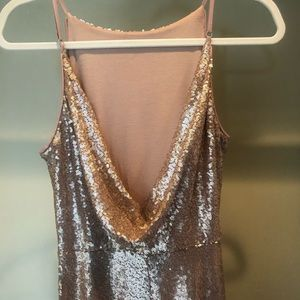 Lulu's Dresses - Chic Rose Gold Sequin gown & gorgeous draped back